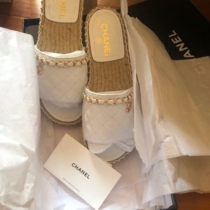 Chanel white mules w/ gold HW